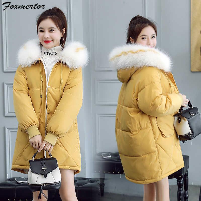 Новая женская зимняя куртка парка пуховик искусственный енот меховой воротник с капюшоном теплое Свободное пальто bf большие стеганые куртки повседневная верхняя одежда