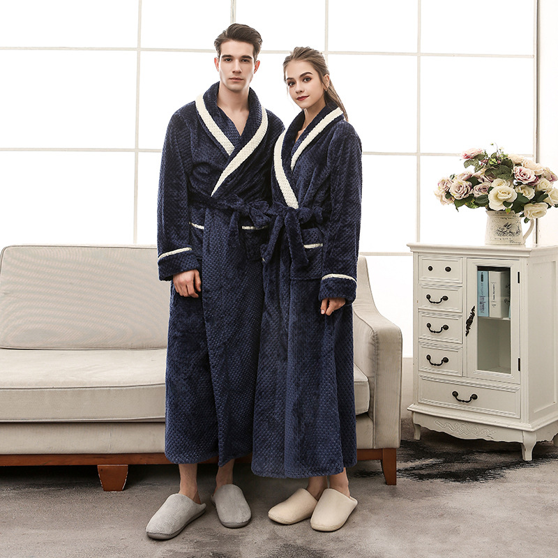 Men Women Winter Extra Long Warm Bathrobe Luxury Thick Flannel Bath Robe Soft Thermal Dressing Gown Sexy Robes Bridesmaid