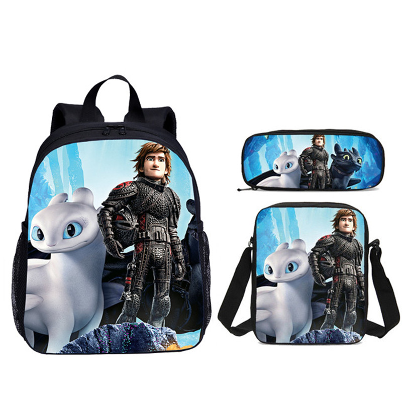 3Pcs Set Portfolio School Bags For Boys Girls Cartoon How To Train Your Dragon Night Fury 3D Printing Small Backpacks Bookbag in Backpacks from Luggage Bags