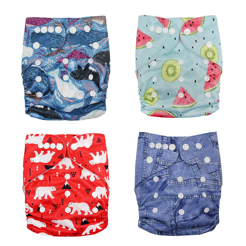 Baby Washable Reusable Real Cloth Pocket Nappy Diaper Cover Wrap Suits Birth To Potty One Size Nappy Inserts Cartoon Diapers