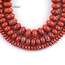 Natural Red Jaspers Rondelle Stone Round Loose Beads For Jewelry Making 4-8mm Spacer Fit Diy Bracelets Necklace 15Strand