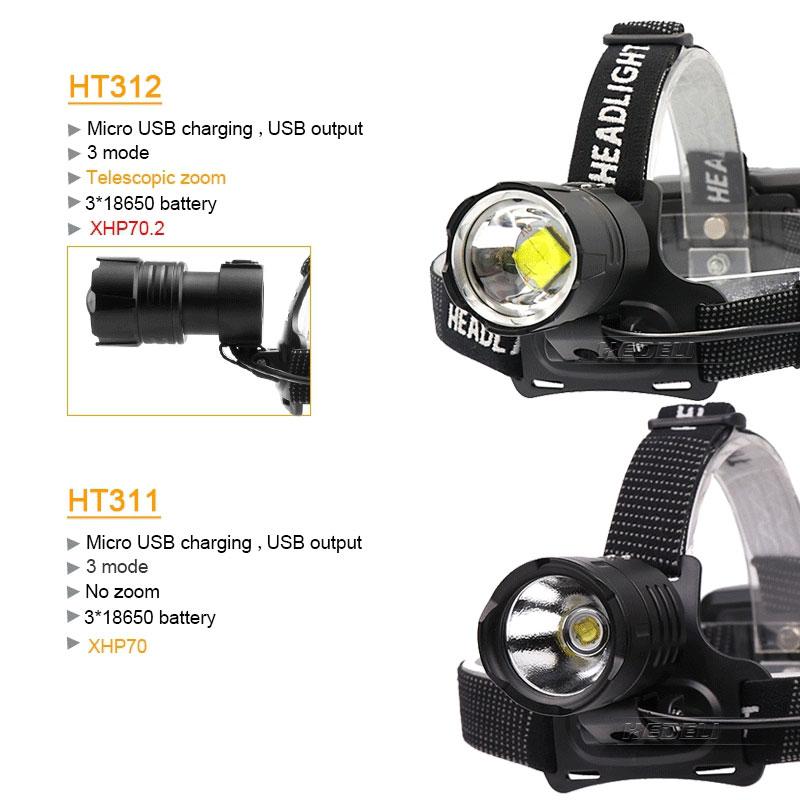 Самый мощный Xlamp xhp70.2 светодиодный налобный фонарь usb 18650 перезаряжаемый Головной фонарь xhp70 водонепроницаемый фонарь с зумом