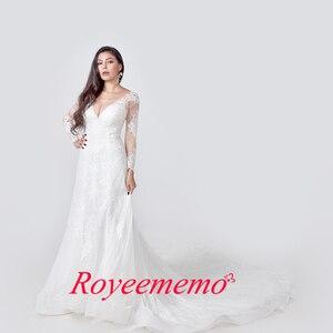 Image 2 - 2020 Elegant Lace Appliques long Sleeve Mermaid Wedding Dress Illusion Back Vintage Bridal Gown vestido de noiva Custom Made