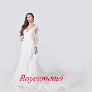 Image 2 - 2020 אלגנטי תחרת אפליקציות שרוול ארוך בת ים שמלות כלה אשליה חזרה בציר כלה שמלת vestido דה noiva תפור לפי מידה