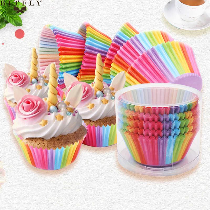 BITFLY 100Pcs Rainbow Cupcake Liners กระดาษกรณี Muffin ถ้วยเค้ก Topper ถาดอบอุปกรณ์ครัว Pastry ตกแต่งเครื่องมือ