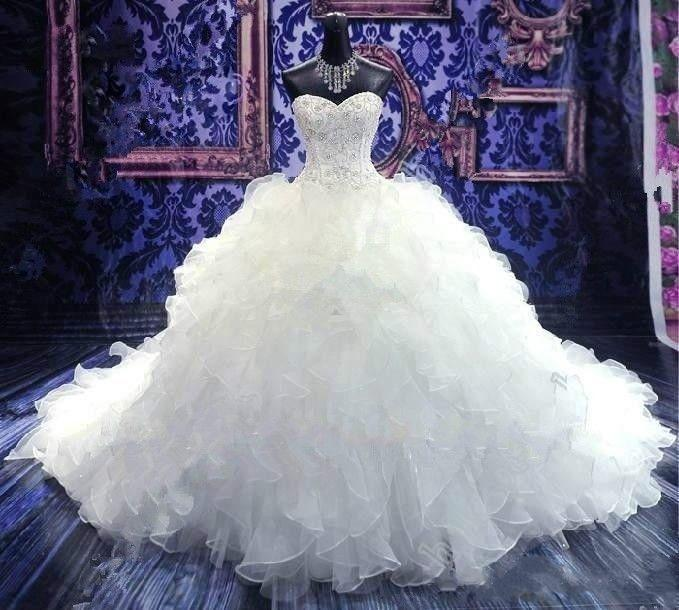 Wedding Dresses 2019 Luxury Beaded Bridal Gown Princess Sweetheart Corset Organza Ruffles Cathedral Ball Gown Wedding Dress