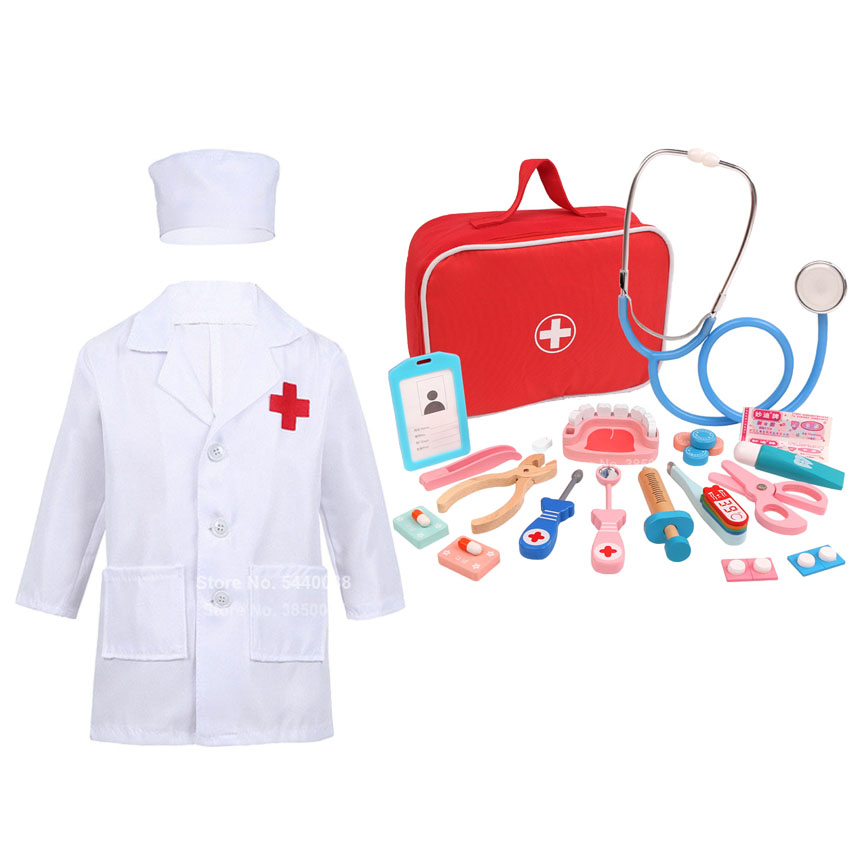 Kids Cosplay Costumes Veterinary Spa Surgical Uniform for Baby Boy Girls with Simulate Toys Early Education Halloween Party Set