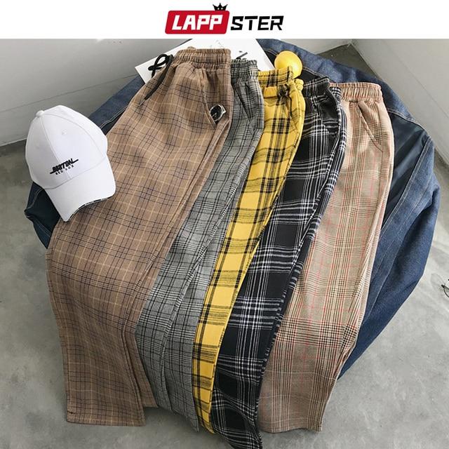 LAPPSTER נשים Streetwear משובץ מכנסיים 2020 Harajuku גבוה מותן רצים קוריאני סגנון מכנסי טרנינג גבירותיי סתיו מכנסיים בתוספת גודל