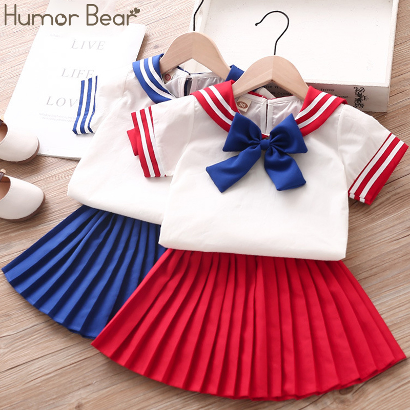 Humor Bear New Summer Girl Clothes Sets 2Pcs Fashion Navy Short Sleeve +Pleated Skirt Kids Clothes Suit Cute Toddler Clothes
