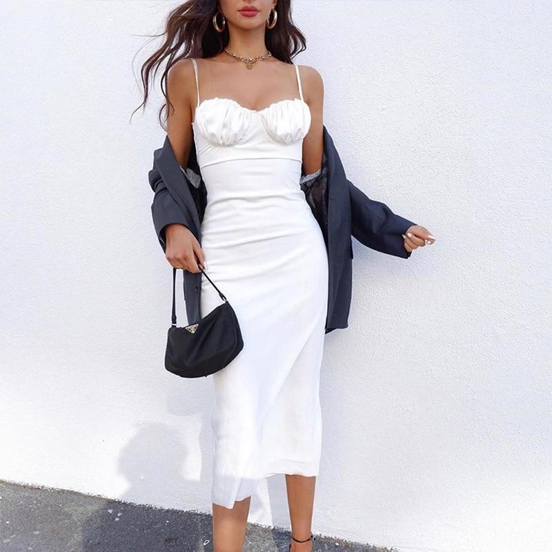 2021 Summer Vintage Women Midi Dress Sexy Backless Lace Up Long Party Ladies Dress Spaghetti Strap Elegant White Satin Dress 1