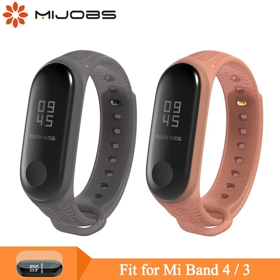 Mijobs Mi Band 3 4 Strap Wrist Strap For Xiaomi Mi Band 4 3 Sport Silicone Bracelet For Miband 4 3 Smart Watch Wristbands