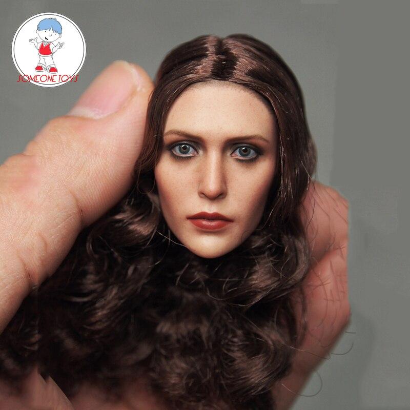 1/6 весы Elizabeth Olsen Алая ведьма голова скульптурная Женская головка резьба для 12 дюймов DIY фигурки