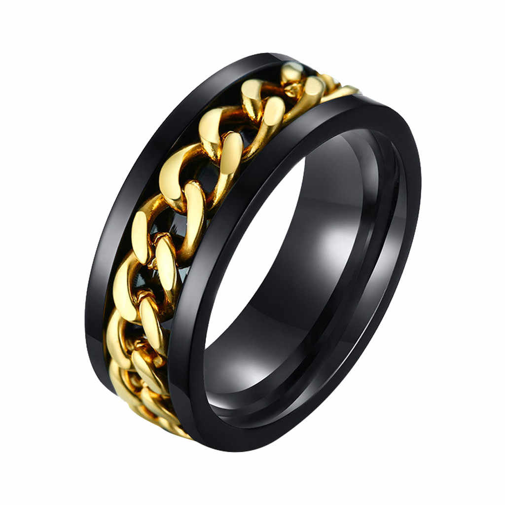 Punk Stainless Wedding Jewelry Rotatable Chain Band Ring Spinner Titanium Steel