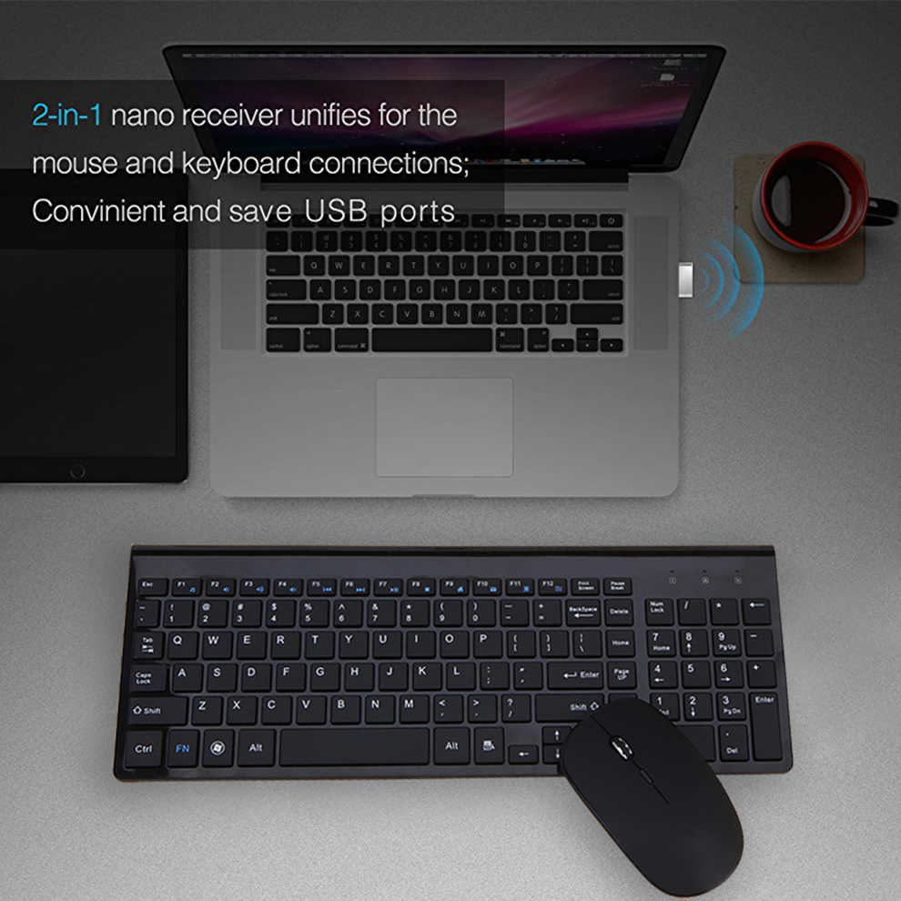Seenda 2.4G Draadloze Stille Toetsenbord Muis Kam Russisch/Spaans Full-Size Toetsenbord Set Voor Notebook Laptop Desktop pc