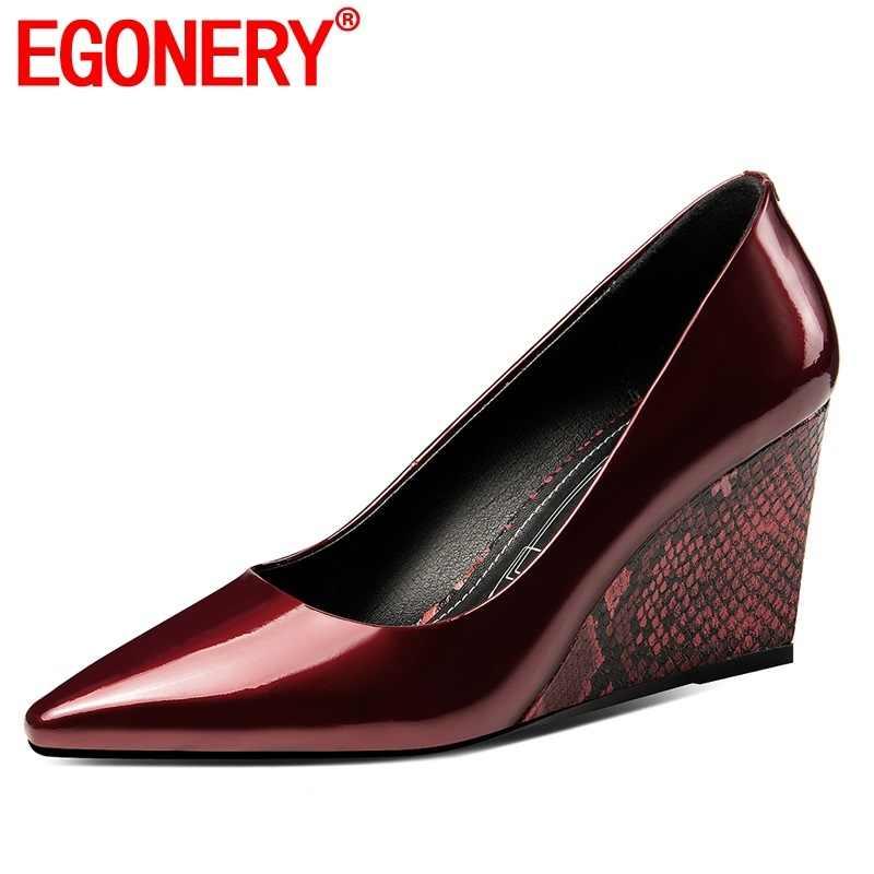 EGONERY bahar yeni moda kadın pompaları dışında yüksek topuklu sivri burun karışık renkler hakiki deri kadın ayakkabı damla nakliye