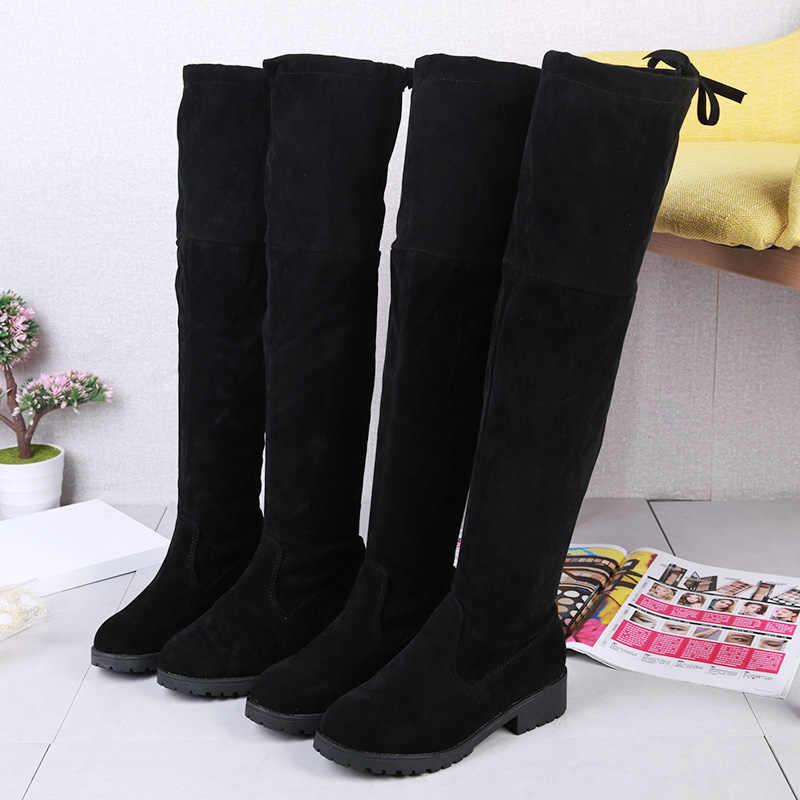 2019 winter nieuwe vrouwen effen kleur ronde kop toevallige laarzen wilde mode warm en comfortabel plus fluwelen laarzen j95
