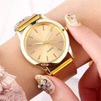 Zegarki damskie Reloj Mujer nowe mody różowe złoty skórzany zegarek dla kobiet zegarek kwarcowy ze stali nierdzewnej luksusowy zegarek na co dzień