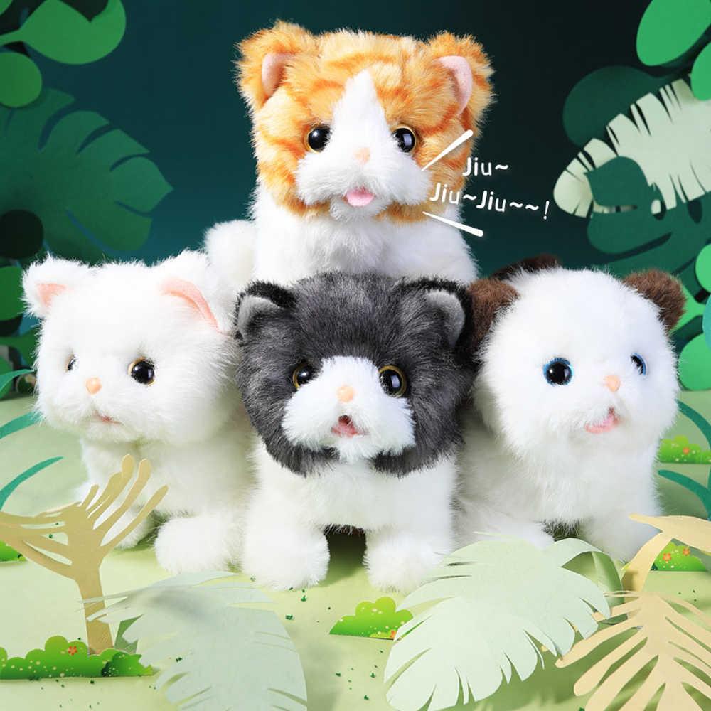 아기 귀여운 대화 형 장난감 고양이 플러시 장난감 어린이위한 어린이 소프트 전자 애완 동물 울리는 로봇 고양이 스탠드 도보 전기 애완 동물