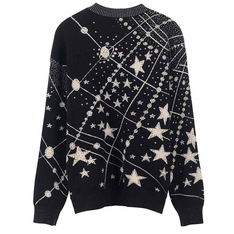 Image 4 - Retro Galaxy Star Pattern Sweater Women Vintage Long Sleeve  Jumpers 2020 Autumn Winter Ladies Jacquard Sweaters Pullovers C  285Pullovers