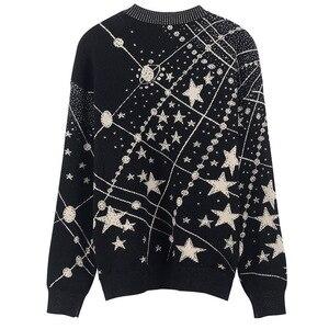 Image 4 - Suéter Retro con estampado de galaxia y estrellas para mujer, jerséis de manga larga Vintage, jerséis de Jacquard para mujer, C 285, Otoño e Invierno 2020