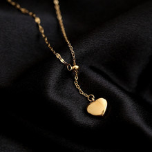 YUN RUO 18 K Gold Plated Heart Pendant Necklace Woman Adjust Chain Fashion 316 L Titanium Steel Jewelry Stainless Gift Not Fade titanium black vacuum plated screw back stud earrings 316 l stainless steel no fade no allergy