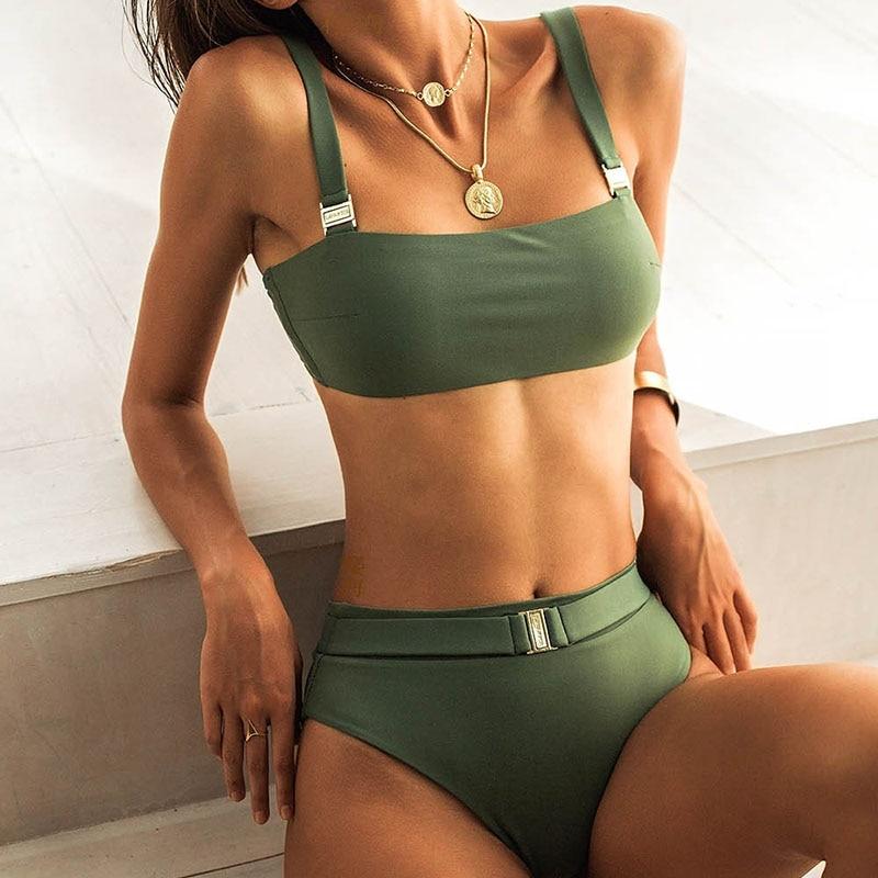 High Waist Bikini 2019 Micro Sexy Army Green Blue Swimsuit Female Push Up Buckle Swimwear Women Bathing Suit Biquini Summer Swim