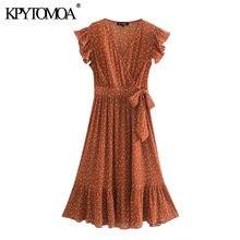 KPYTOMOA-elegante vestido Midi plisado para mujer, con pajarita de lunares, volantes Vintage, sin mangas, cremallera lateral, 2020