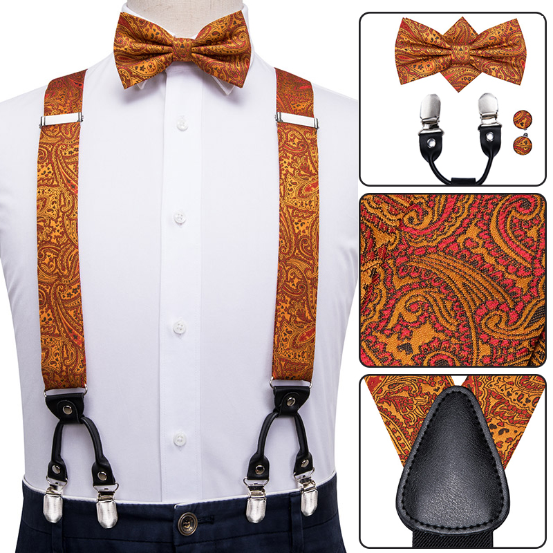 BD-3021 Hi-Tie Silk Adult Men's Suspenders Tie Set Leather Metal 6 Clips Braces Golden Brown Paisley Elastic Suspenders Men