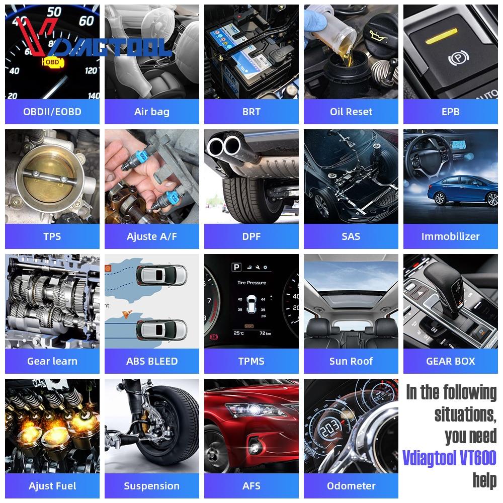 VDIAGTOOL VT600 OBD2 Automotive Scanner Tool Engine ABS SRS EPB Oil Service Reset Injector Coding OBDII Car Diagnostic Pakistan