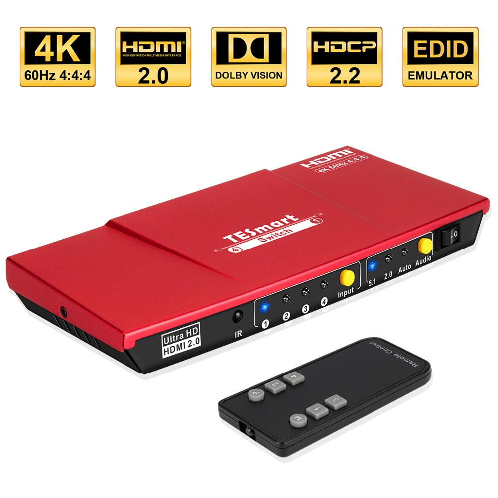 4x1 HDMI Switch 4K@60Hz 4 In 1 Out Switch HDCP High Quality With Remote Control For HDTV Audio Video XBOX DVD STB