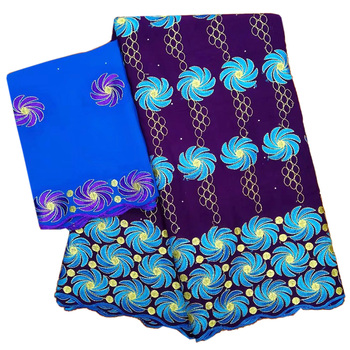 African Swiss Voile Lace Fabric and Scarf High Quality Embroidered Cotton Lace White Blue Purple Nigerian Lace Fabric For Dress