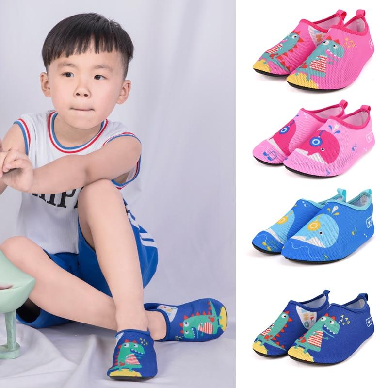Summer Children Beach Shoes Baby Water Shoes Soft Indoor Slipper Boy Girls Seaside Snorkeling Swim Socks Cartoon Kids Slippers