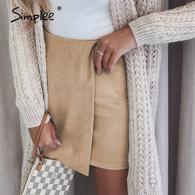 Simplee Chic Asymmetrical Women Mini Skirt High Waist Solid Female A-line Skirts Spring Summer Office Ladies Skirts Bottoms 2020