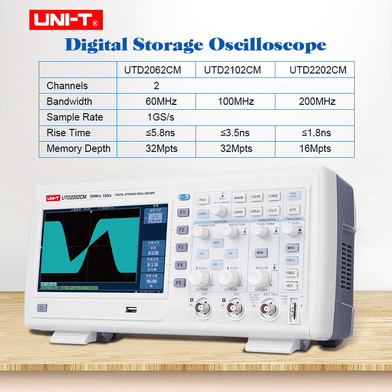 Digital Speicher Oszilloskop 2 kanäle 1GS/s probe rate Desktop osciloscope UNI-T UTD2062CM/2102 CM/2202 CM 7 zoll TFT LCD