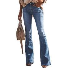 2020 Plus rozmiar w połowie talii Flare dżinsy dla mamy damskie dżinsy typu boyfriend obcisłe dżinsy rurki kobieta szerokie spodnie nogi damskie spodnie jeansowe tanie tanio WICCON COTTON Pełnej długości FYL0742 Na co dzień Zmiękczania Zipper fly Kieszenie HOLE vintage Spodnie pochodni skinny