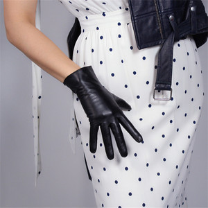 Image 3 - Touch Screen Echt Leder Handschuhe 25cm Kurze Reine Ziegenleder Importiert Weibliche Dünne Plüsch Gefüttert Ingwer Gelb Helle Gelb WZP01 2