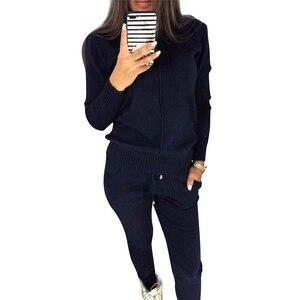 Image 3 - MVGIRLRU נשים של סריגת תלבושות נשים שתי חתיכה סטי גבוהה צוואר אמצע קו סוודר + מכנסיים אימונית נשי תלבושות
