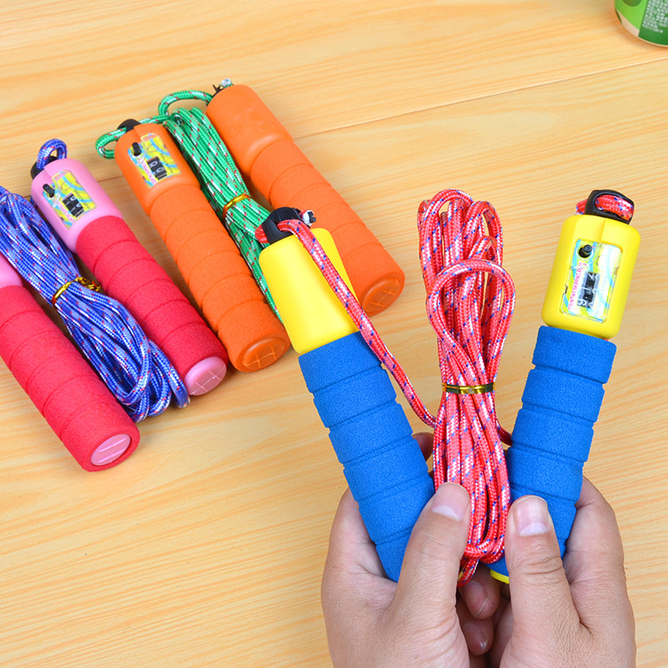 Foam Rubber Grip Count Jump Rope Maker With Numbers Jump Rope Students Game Jump Rope Thread Sponge Automatic Counting Jump Rope