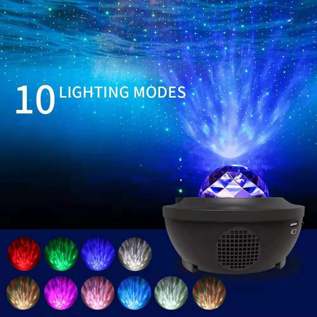 $ US $27.02 Romantic Colorful Starry Sky Ocean Projector Night Light  Remote Control Ocean Wave Projection Lamp with Bluetooth Music Speaker