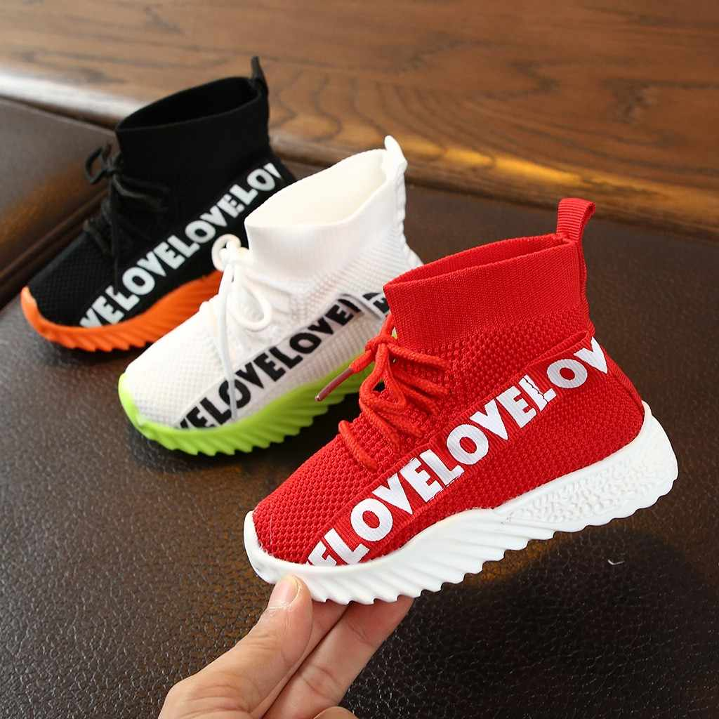Children kids Boots Baby Girls Boys Letter Stretch Run Sneakers Sport Kids Shoes Girl Boots Botas Tenis Infantil Buty Zapatos