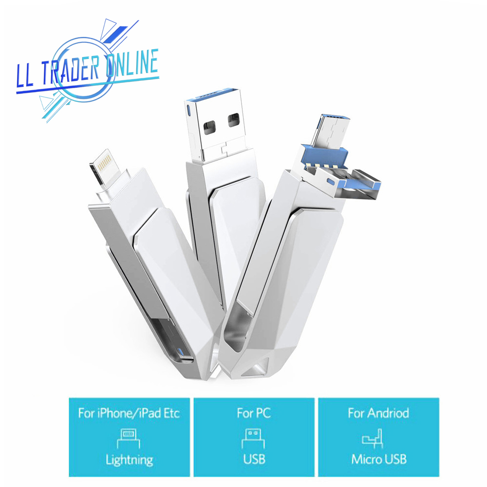 Mini USB Memory Stick 128GB OTG USB Flash Drive For IPhone 64GB Pendrive Flash Disk For IOS IPad Android Type-C 32GB
