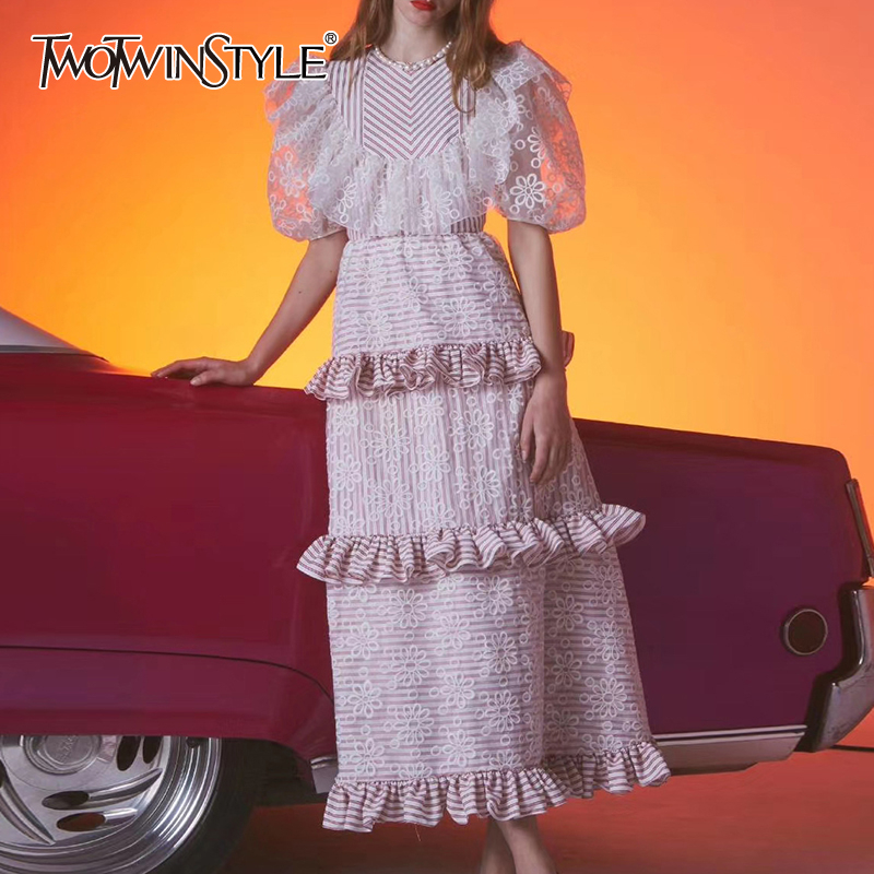 Платье TWOTWINSTYLE, винтажное, с о вырезом, коротким рукавом и высокой талией        АлиЭкспресс