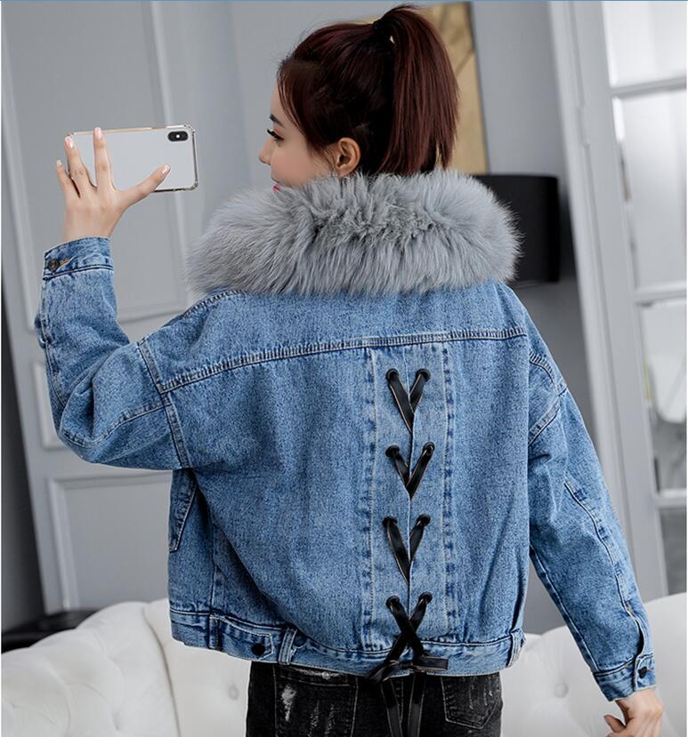 2019 Winter Women's Denim Jacket With Fur Coat Women Parka Plus Velvet Thickening Female Denim Jackets Girl Coats Outerwear Blue