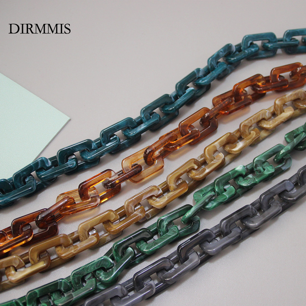 New Fashion Woman Handbag Accessory Chain Brown Beige Acrylic Blue Resin Chain Luxury Strap Women Clutch Shoulder Purse Chain