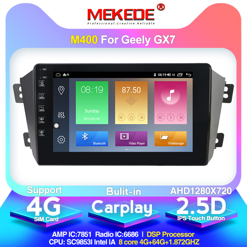 MEKEDE M400 Eight-core Android 10.0 4G+64G Car Multimedia For Geely Emgrand GX7 EX7 X7 Car Gps With Dvd Plarer FM Navi WIF