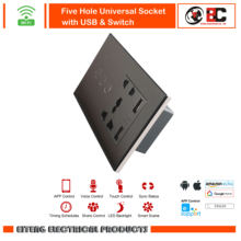 Wifi Five Hole Universal Socket with USB & Switch Remote Control Work with Google home Amazon Alexa 1 2 3 Gang 1 Way 86 type 1 2 3 4 gang 1 2way coffee aluminum alloy panel switch socket five hole europe industry switch france germany uk socket