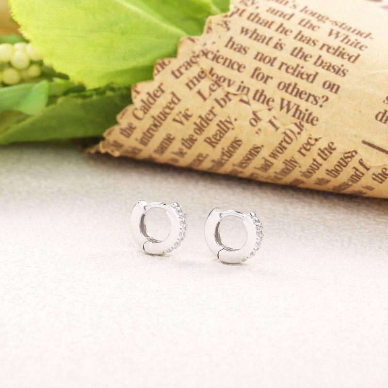Moonmory 925 en argent Sterling Super petit Piercing boucles d'oreilles pour les femmes cristal Zircon polyvalent mode bijoux cadeaux de noël 4