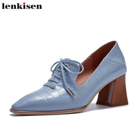 Lenkisen new print genuine leather European style square toe high heels lace up solid mature women spring big size pumps L2f2