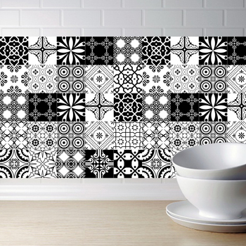 15cm/20cm Black White Self -Adhesive Wall Stickers Anti Oil Waterproof Tiles Kitchen Bathroom Decoration Waist Line Art