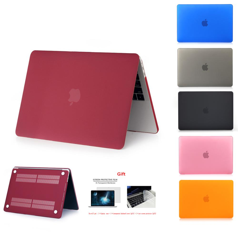 Nueva funda de cristal mate para Apple Macbook Air Pro Retina 11 12 13 15 16 pulgadas, funda para A1706 A1708 A2141 A1466 A1932 A2179 + regalo